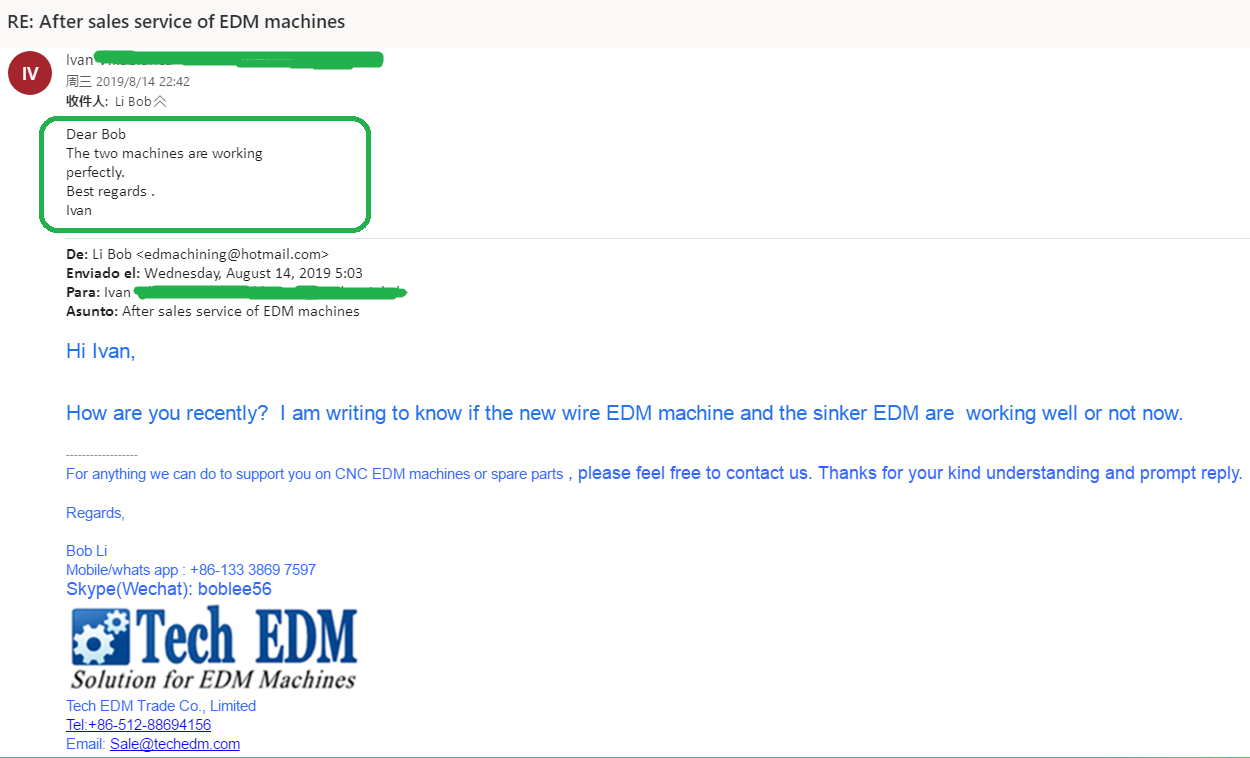 Clients are satisfied with our EDM machines